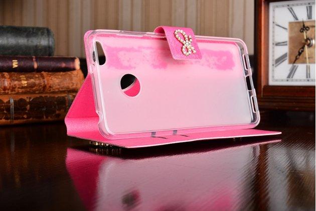Фирменный роскошный чехол-книжка безумно красивый декорированный бусинками и кристаликами на ZTE Nubia Z11 mini S 5.2 розовый