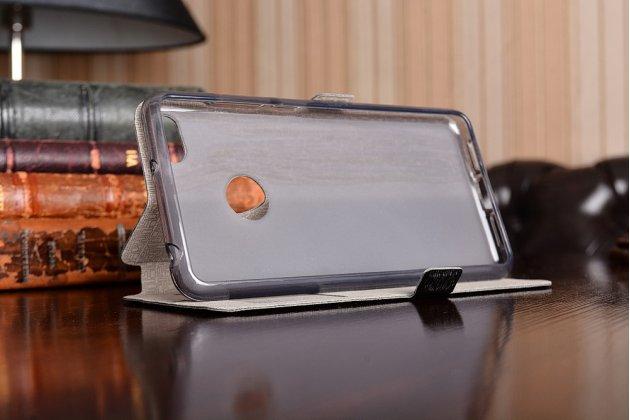 Фирменный чехол-книжка для ZTE Nubia Z11 mini S 5.2 черный с окошком для входящих вызовов и свайпом водоотталкивающий