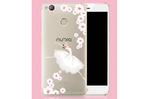 Фирменная задняя панель-чехол-накладка из прозрачного 3D  силикона с объёмным рисунком для ZTE Nubia Z11 mini S 5.2  тематика Весенний Вальс которая огибает логотип чтобы была видна марка телефона