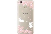 Фирменная задняя панель-чехол-накладка из прозрачного 3D  силикона с объёмным рисунком для ZTE Nubia Z11 mini S 5.2  тематика Кролики в цветах которая огибает логотип чтобы была видна марка телефона
