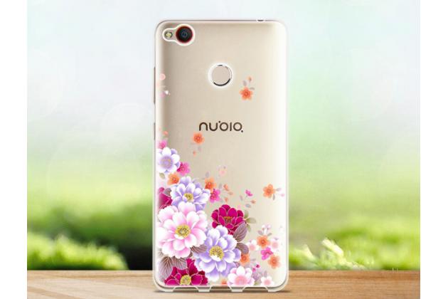 Фирменная задняя панель-чехол-накладка из прозрачного 3D  силикона с объёмным рисунком для ZTE Nubia Z11 mini S 5.2  тематика Весенние цветы которая огибает логотип чтобы была видна марка телефона