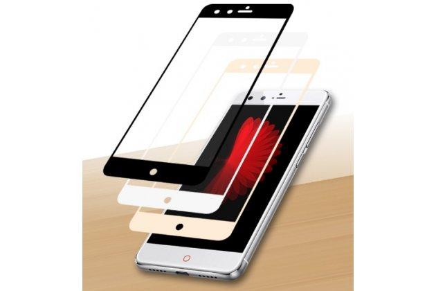 """Фирменное 3D защитное изогнутое стекло с закругленным изогнутым краем которое полностью закрывает экран / дисплей по краям с олеофобным покрытием для ZTE Nubia Z11 Mini 5.0"""" (NX529J)"""