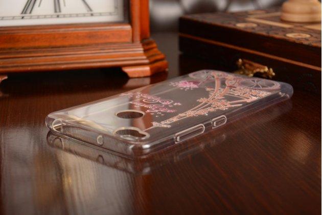 Фирменная задняя панель-чехол-накладка из прозрачного 3D  силикона с объёмным рисунком для ZTE Nubia Z11 mini S 5.2  тематика Париж которая огибает логотип чтобы была видна марка телефона
