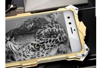 """Противоударный металлический чехол-бампер из цельного куска металла с усиленной защитой углов и необычным экстремальным дизайном для ZTE Nubia Z11 Mini 5.0"""" (NX529J) золотого цвета"""