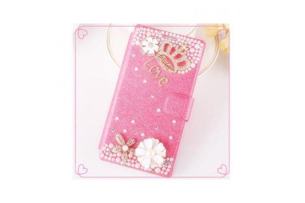 Фирменный роскошный чехол-книжка безумно красивый декорированный бусинками и кристаликами на ZTE Nubia Z7 Mini  розовый