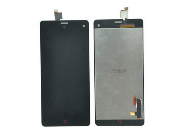 Фирменный LCD-ЖК-сенсорный дисплей-экран-стекло с тачскрином на телефон ZTE Nubia Z7 Mini черный и инструменты..