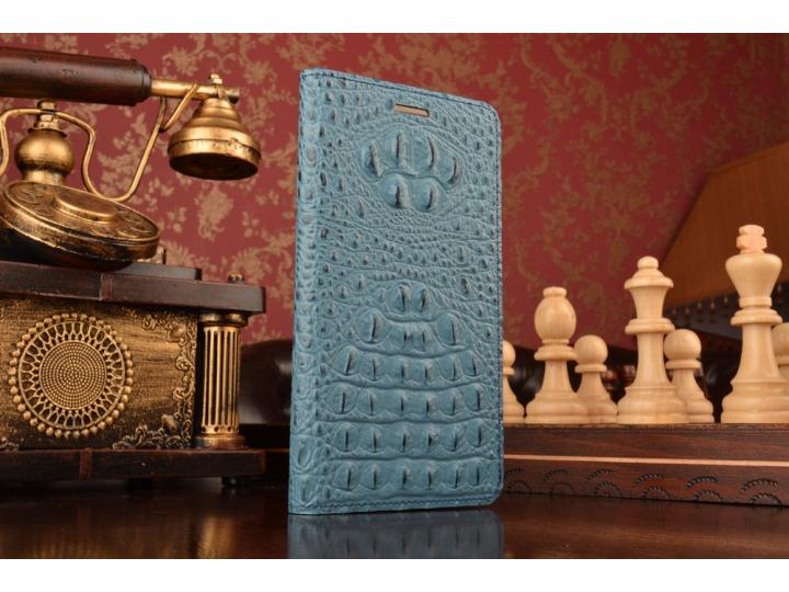 Фирменный роскошный эксклюзивный чехол с объёмным 3D изображением кожи крокодила синий для ZTE Nubia Z9 Max . ..