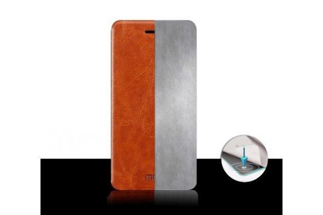 Фирменный чехол-книжка из качественной водоотталкивающей импортной кожи на жёсткой металлической основе для ZTE Nubia Z9 Mini  черный
