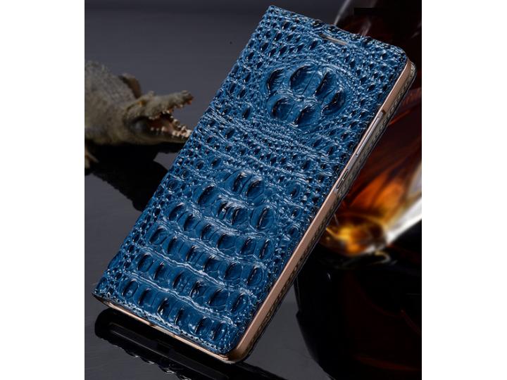Фирменный роскошный эксклюзивный чехол с объёмным 3D изображением рельефа кожи крокодила синий для ZTE Nubia Z..