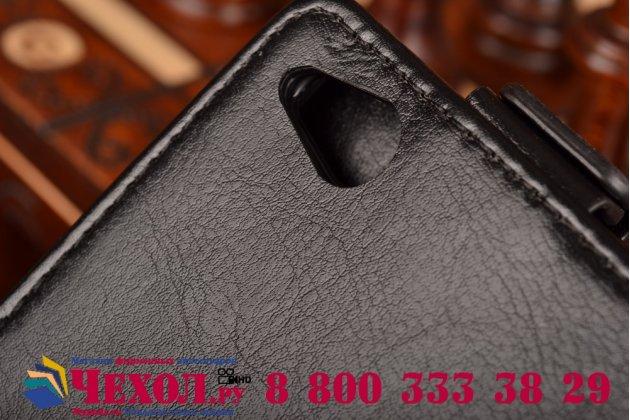 """Фирменный оригинальный вертикальный откидной чехол-флип для ZTE Nubia Z9 Mini черный кожаный """"Prestige"""" Италия"""