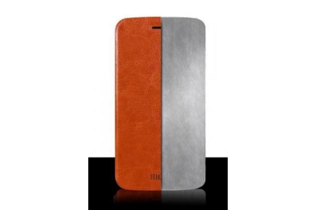 """Фирменный чехол-книжка из качественной водоотталкивающей импортной кожи на жёсткой металлической основе для ZTE Grand S3 (S2004) 5.5"""" коричневый"""