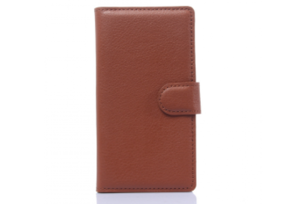 """Фирменный чехол-книжка из качественной импортной кожи с подставкой застёжкой и визитницей для ZTE Blade G Lux  / Kis 3 Max (V830) 4.5"""" коричневый"""