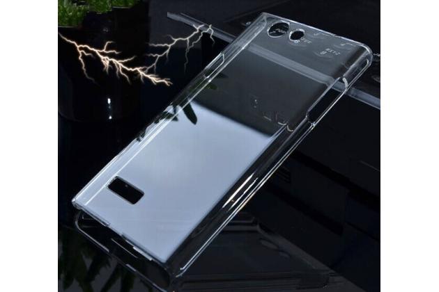Фирменная задняя панель-крышка-накладка из тончайшего и прочного пластика для ZTE Blade L2 прозрачная