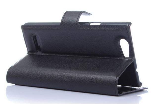 Фирменный чехол-книжка из качественной импортной кожи с мульти-подставкой застёжкой и визитницей для ЗТЕ Блэйд Л2 черный