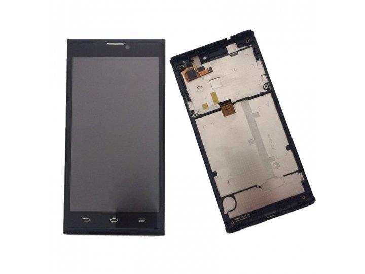 Фирменный LCD-ЖК-сенсорный дисплей-экран-стекло с тачскрином на телефон ZTE Blade L2 черный с СЕРЕБРИСТОЙ рамк..