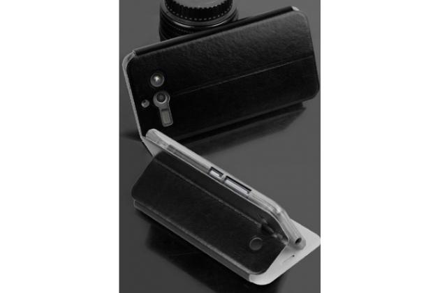 """Фирменный чехол-книжка из качественной водоотталкивающей импортной кожи на жёсткой металлической основе для ZTE Grand S2 / SII (S291) 5.5"""" черный"""