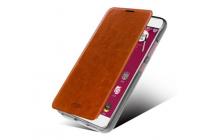 """Фирменный чехол-книжка из качественной водоотталкивающей импортной кожи на жёсткой металлической основе для ZTE Nubia Z5S mini 4.7"""" (NX403A) коричневый"""