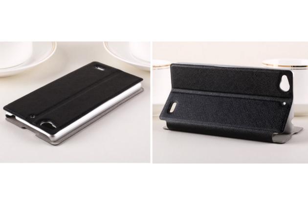 """Фирменный чехол-книжка  с окошком для входящих вызовов и свайпом  для ZTE Nubia Z5Smini 4.7"""" (NX403A)  водоотталкивающий черный"""