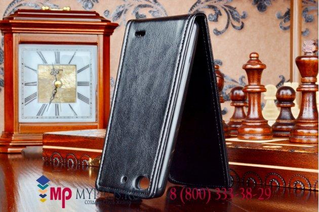 """Фирменный оригинальный вертикальный откидной чехол-флип для ZTE Nubia Z5S mini черный кожаный """"Prestige"""" Италия"""