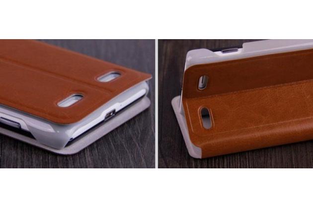 """Фирменный оригинальный чехол-книжка для  ZTE Nubia Z5 mini 4.7"""" (NX402) коричневый кожаный с окошком для входящих вызовов"""