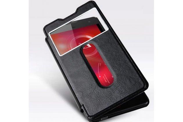 Фирменный оригинальный чехол-книжка для ZTE Nubia Z7 Max черный кожаный с окошком для входящих вызовов и свайпом