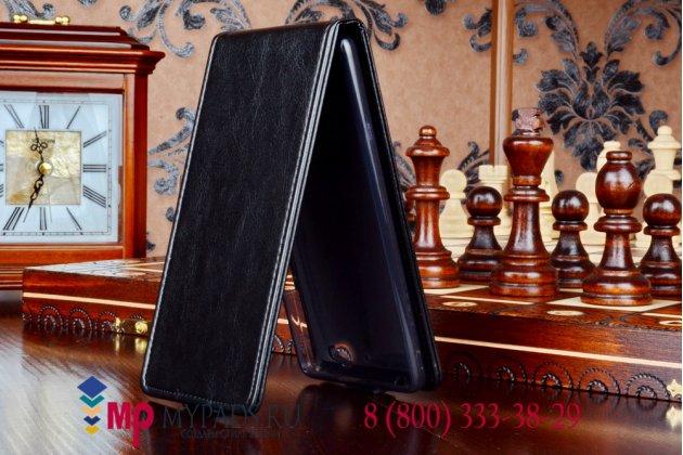"""Фирменный оригинальный вертикальный откидной чехол-флип для ZTE Nubia Z7 Max черный кожаный """"Prestige"""" Италия"""