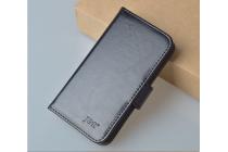 Фирменный чехол-книжка из качественной импортной кожи с мульти-подставкой застёжкой и визитницей для ЗТЕ ГИК В975 черный