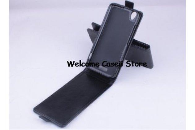 Фирменный оригинальный вертикальный откидной чехол-флип для ZTE V975 Geek черный кожаный