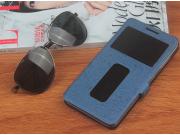 Фирменный чехол-книжка для ZTE Nubia M2 lite синий с окошком для входящих вызовов и свайпом водоотталкивающий..
