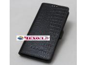 Фирменный роскошный эксклюзивный чехол-книжка из кожи крокодила чёрного цвета для ZTE Nubia M2 lite. Только в ..