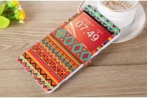 """Фирменный чехол-книжка с безумно красивым расписным эклектичным узором на ZTE Nubia X6 6.4"""" (NX601J) с окошком для звонков"""