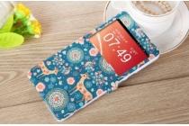 """Фирменный чехол-книжка с безумно красивым расписным рисунком Оленя в цветах на ZTE Nubia X6 6.4"""" (NX601J)  с окошком для звонков"""