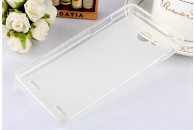 Фирменная ультра-тонкая полимерная из мягкого качественного силикона задняя панель-чехол-накладка для ZTE V5 / V5s (U9180 / V9180 Red Bull) белая