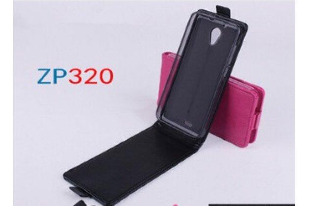 """Фирменный оригинальный вертикальный откидной чехол-флип для Zopo ZP320 черный кожаный """"Prestige"""" Италия"""