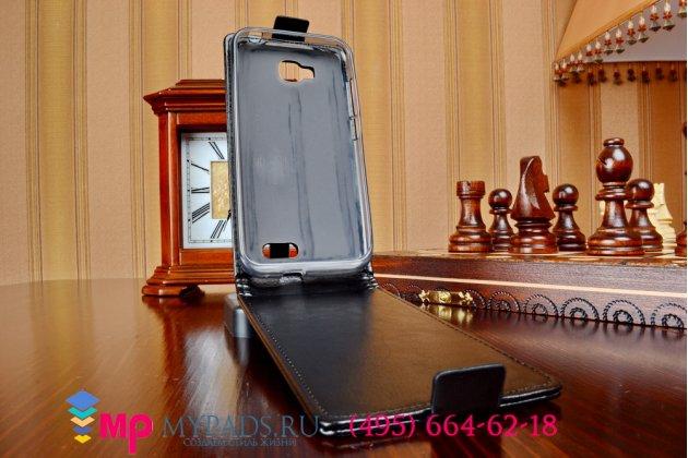 Фирменный оригинальный вертикальный откидной чехол-флип для Zopo ZP700 черный кожаный