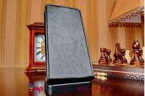 """Фирменный оригинальный вертикальный откидной чехол-флип для Zopo ZP999 LITE/ZP998 черный кожаный """"Prestige"""" Италия"""