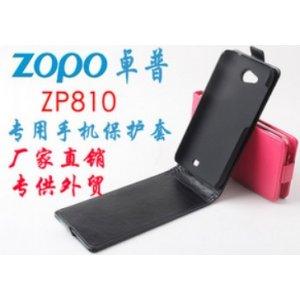 Фирменный оригинальный вертикальный откидной чехол-флип для Zopo ZP810 черный кожаный