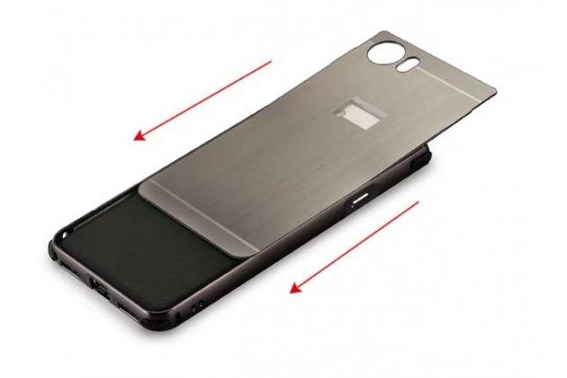 Фирменная металлическая задняя панель-крышка-накладка из тончайшего облегченного авиационного алюминия для BlackBerry KEYone/ DTEK70 черная