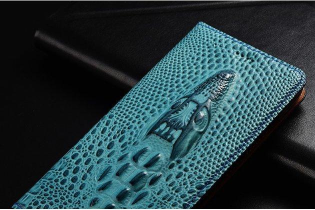 Фирменный роскошный эксклюзивный чехол с объёмным 3D изображением кожи крокодила синий для Philips Xenium X818 / Philips X818  Только в нашем магазине. Количество ограничено