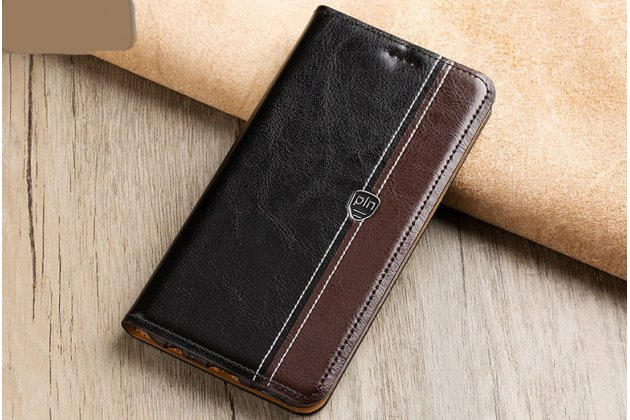 Фирменный премиальный чехол-книжка из качественной импортной кожи с мульти-подставкой и визитницей для Philips Xenium X818 / Philips X818 черно-коричневый