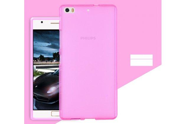 Фирменная ультра-тонкая полимерная из мягкого качественного силикона задняя панель-чехол-накладка для Philips Xenium X818 / Philips X818 розовая