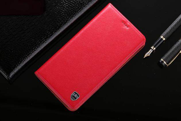 Фирменный чехол-книжка из качественной импортной кожи с подставкой  и визитницей для Philips Xenium X818 / Philips X818 красный