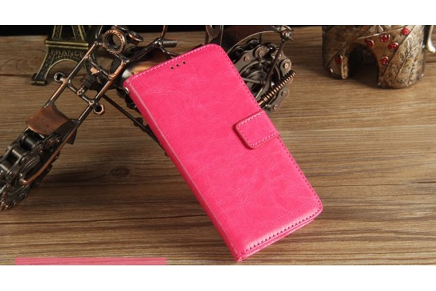 Фирменный чехол-книжка из качественной импортной кожи с подставкой застёжкой и визитницей для Philips Xenium X818 / Philips X818 розовый