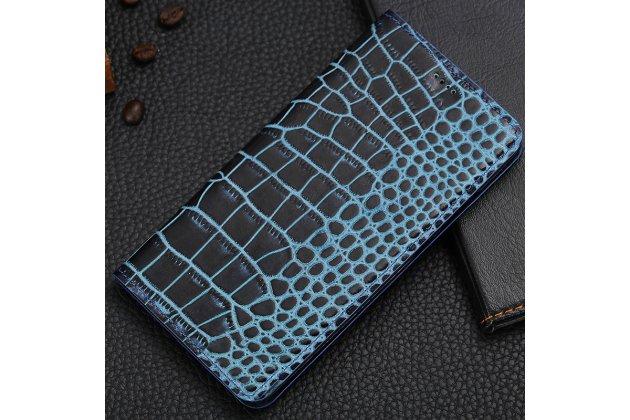 Фирменный роскошный эксклюзивный чехол с фактурной прошивкой рельефа кожи крокодила и визитницей синий для Philips Xenium X818 / Philips X818. Только в нашем магазине. Количество ограничено