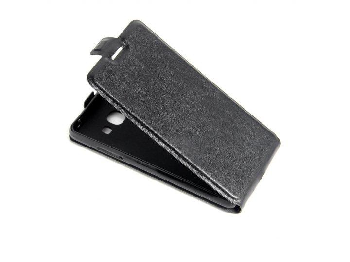 Фирменный оригинальный вертикальный откидной чехол-флип для Samsung Galaxy J3 Pro черный из натуральной кожи P..