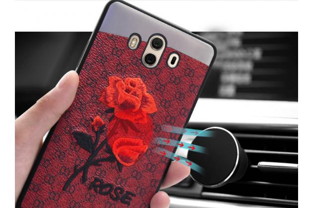 Фирменная уникальная задняя панель-крышка-накладка из тончайшего силикона для Huawei Mate 20 6.53 с объёмной 3D вышивкой тематика Алая роза в красном цвете