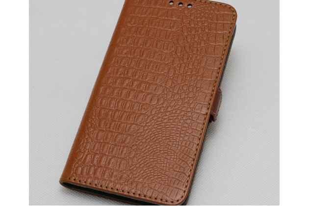 Фирменный роскошный эксклюзивный чехол с фактурной прошивкой рельефа кожи крокодила и визитницей светло-коричневый для Lenovo K8 Note / Lenovo K8 Plus. Только в нашем магазине. Количество ограничено