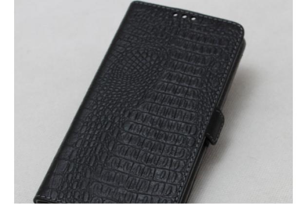 Фирменный роскошный эксклюзивный чехол с фактурной прошивкой рельефа кожи крокодила и визитницей черный для Lenovo K8 Note. Только в нашем магазине. Количество ограничено