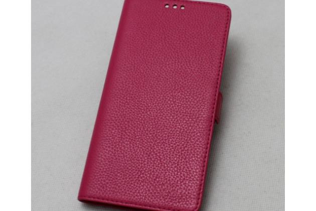 Фирменный премиальный чехол-книжка из качественной импортной кожи с мульти-подставкой и визитницей для Lenovo K8 Note розовый