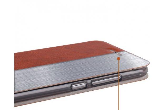 Фирменный чехол-книжка из качественной водоотталкивающей импортной кожи на жёсткой металлической основе для Huawei P9 Lite Mini / Huawei Y6 Pro (2017) / Huawei Enjoy 7 голубой